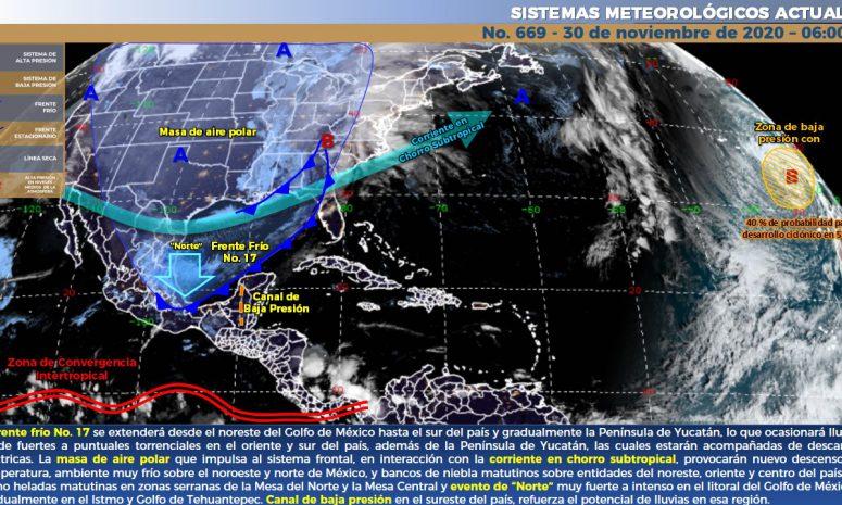 Llega frente frío 17 con fuertes lluvias a la Península de Yucatán